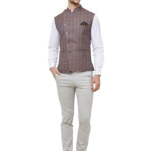 Brown Colour Cotton Blend Modi Jacket