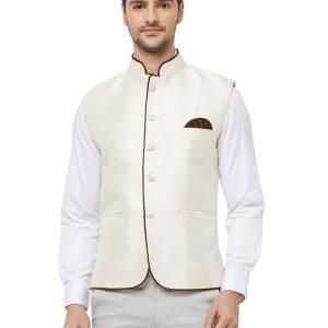 Off White Colour Pure Silk Modi Jacket