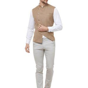 Cream Colour Cotton Blend Modi Jacket