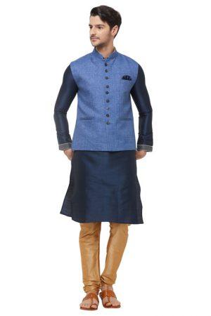 Blue Colour Linen Modi Jacket