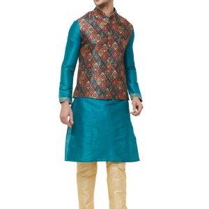 Multi Colour Silk Blend Modi Jacket