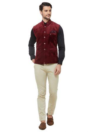 Red Colour Velvet Modi Jacket