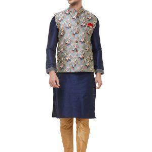 Grey Colour Silk Blend Modi Jacket