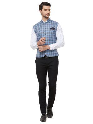 Blue Colour Cotton Blend Modi Jacket