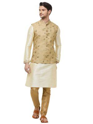 Gold Colour Pure Silk Modi Jacket