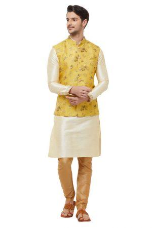 Yellow Colour Pure Silk Modi Jacket