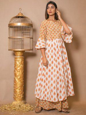 Anaya Cotton Bijiya And Hand Block Printing Off-White Dresses
