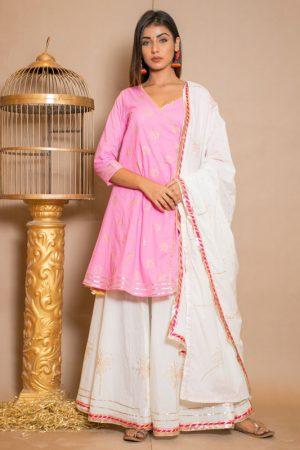Bandani Cotton Gota Work Pink Dresses