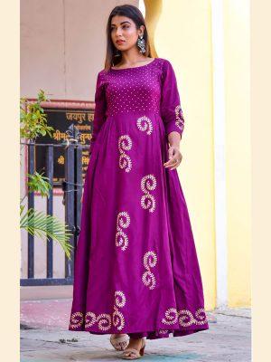 Purple Jaam Silk Hand Block Printing Reception Wear Gown