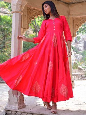 Gajri Jaam Silk Hand Block Printing Anarkali Style Kurti
