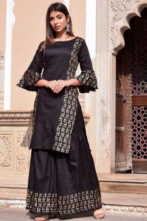 Black Jaam Silk Hand Block Printing Sharara Kurta Set