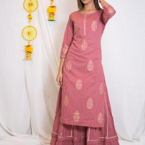 Maahi Cotton Hand Block Printing Move Pink Anarkali Style Top (Set Of 1)