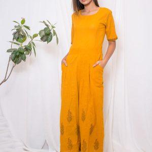 Fida Cotton Slub Hand Block Printing Mustard Jumpsuit