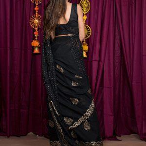 Dusky Black Cotton Mulmul Block Print Saree