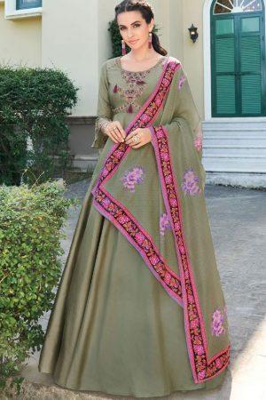 Olive Silk Blend Anarkali Salwar Kameez