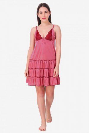 Peach Satin Deep Neck Ruffle Soft Bridal Babydoll Dress Nightwear