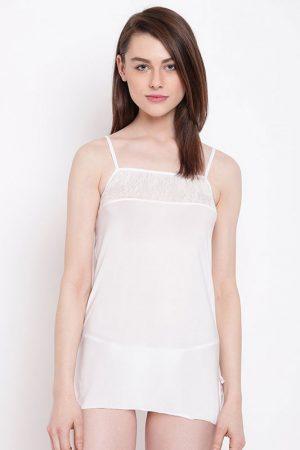 Spaghetti Strap Floral Lace Bust White Babydoll Dress Nightwear