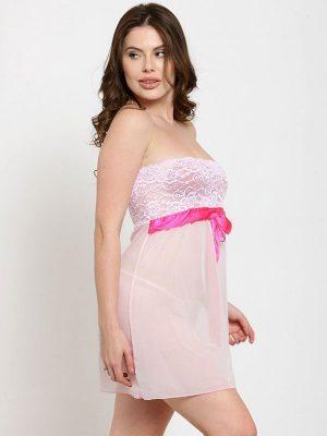 Strapless Sheer Tube Pink Net Sexy Babydoll Dress Nightwear