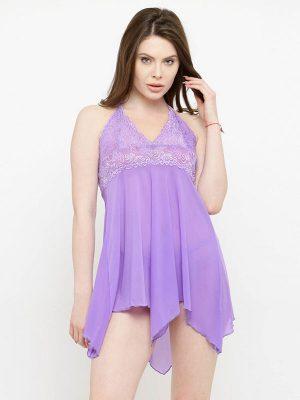 Asymmetrical Sheer Purple Babydoll Dress Nightwear