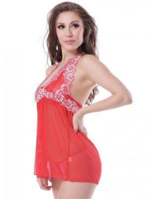 Halter Neck Patch Work Red Sheer Babydoll Dress Nightwear