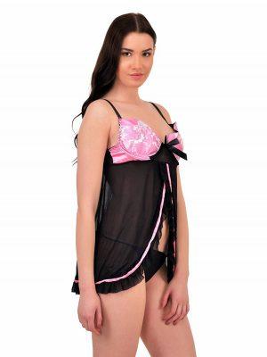 Front Open Pink Shiny Bust Black Sheer Babydoll Dress Nightwear