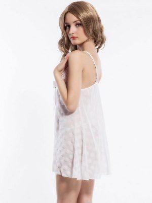Halter Neck Bow Knot White Polka Dot Babydoll Dress Nightwear