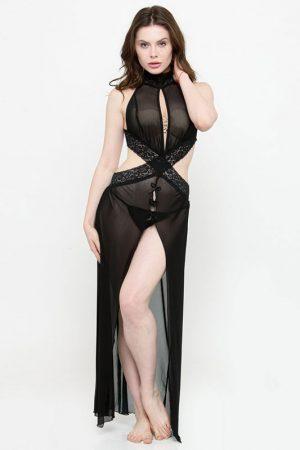 Criss Cross Lace Keyhole Neck Lingerie Nighty Night Dress Nightwear