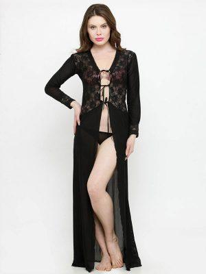 Deep Neck Black Rose Lace Long Sleeves Bridal Night Dress Nightwear