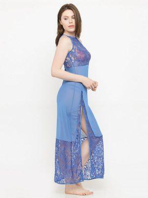 Sheer Side Slit Blue Nighty Night Dress Nightwear