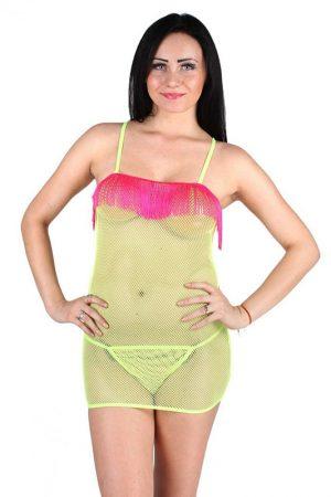 Fish Net Fringe Tassel Neon Yellow Sexy Chemise Nightwear