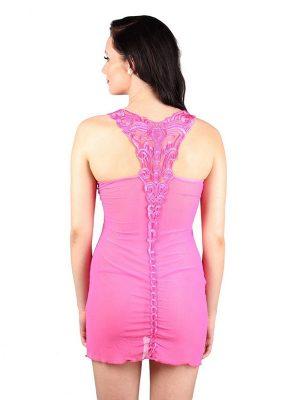 Sheer Stretch Mesh Hot Pink Patch Work Bridal Chemise Nightwear