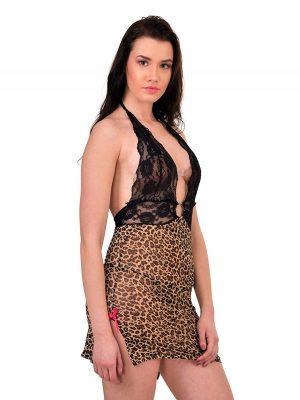 Deep V-Neck Metal Ring Leopard Print Brown Chemise Nightwear