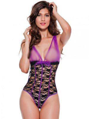 Deep V-Lace Mesh Purple Halter Strap Sexy Lingerie Chemise Nightwear