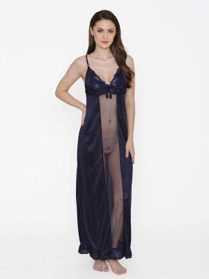 Deep Neck NavyBlue Satin Ruffle Edge Nighty Night Dress Nightwear