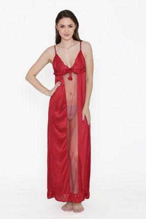 Deep Neck Red Satin Ruffle Edge Nighty Night Dress Nightwear