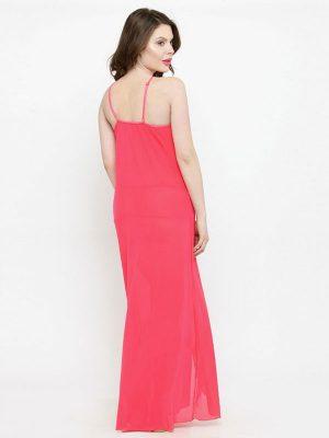 Deep Neck Pink Rose Lace Nighty Bridal Night Dress Nightwear