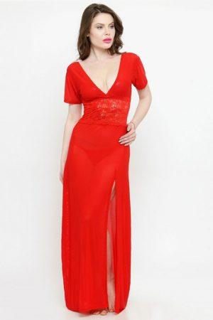 V-Neck Red Splicing Lace Nighty Night Dress Nightwear