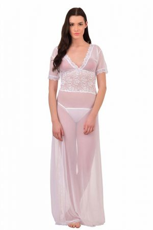 V-Neck White Splicing Lace Nighty Night Dress Nightwear