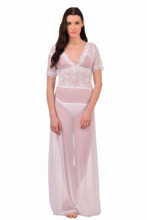 V-Neck White Splicing Lace Nighty Night Dress Nightwear