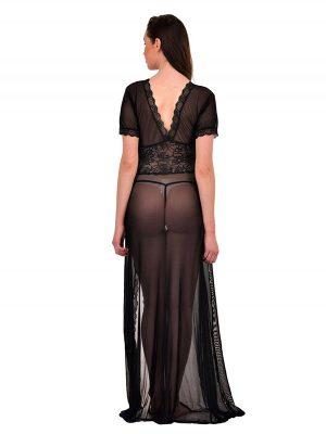 V-Neck Black Lace Gown Night Dress