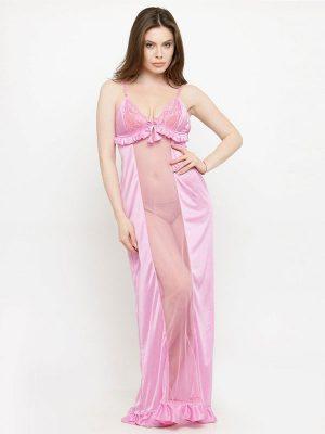 Deep Neck Pink Satin Ruffle Edge Nighty Night Dress Nightwear
