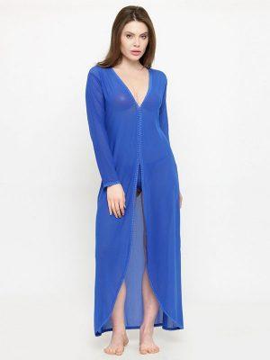 A Line Asymmetrical Sheer Blue Long Sleeve Bridal Nightwear
