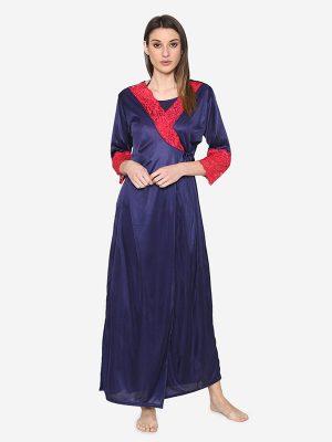 Satin Spandex Royal Lace Soft Bridal Nighty Lingerie Nightwear Set Blue