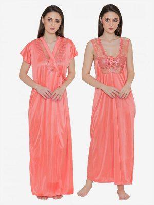 Orange Bridal Long Nighty with Robe Lingerie 2 Pcs Nightwear Set