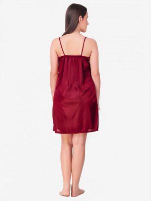 Maroon Royal Lace Soft Bridal Nighty Lingerie Nightwear Set