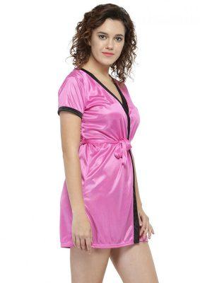 Women Pink Short Satin Babydoll Robe Nighty Dress
