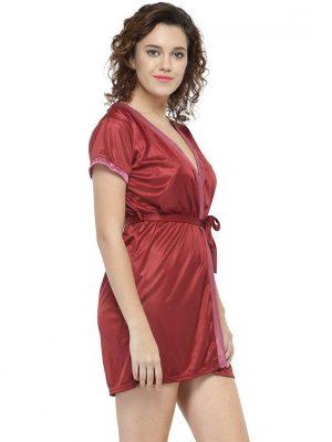 Women Maroon Short Satin Babydoll Robe Nighty Dress