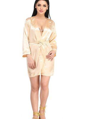 Women Solid Satin Short Length Beige Long Sleeves Kimono Bridal Night Robe