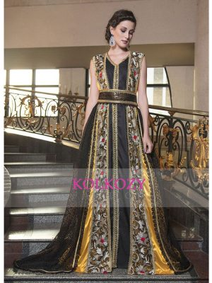 Arabic Evening Dress With Net Brasso And Lace Work Work Yellow And Black Color Kaftan
