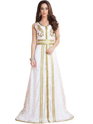 Trendy Beautiful Gulf Trend White Color Partywear Moroccan Style Dubai Dress
